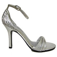 View Item NEW SILVER BRIDAL WEDDING PROM STRAPPY SANDALS SIZE 3-9